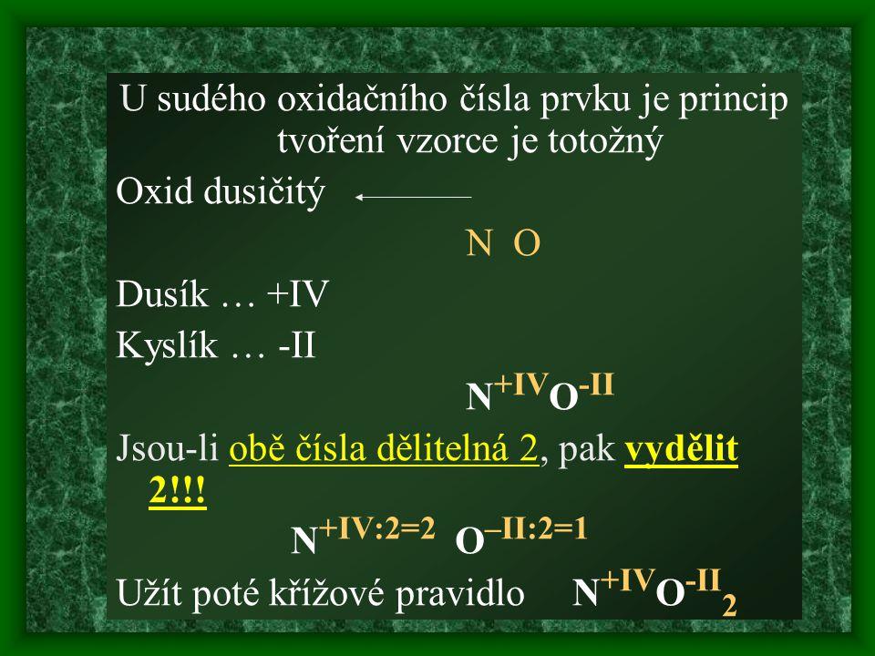 U sudého oxidačního čísla prvku je princip tvoření vzorce je totožný