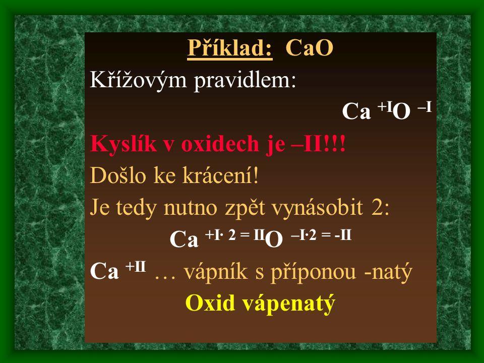 Příklad: CaO Křížovým pravidlem: Ca +IO –I. Kyslík v oxidech je –II!!! Došlo ke krácení! Je tedy nutno zpět vynásobit 2: