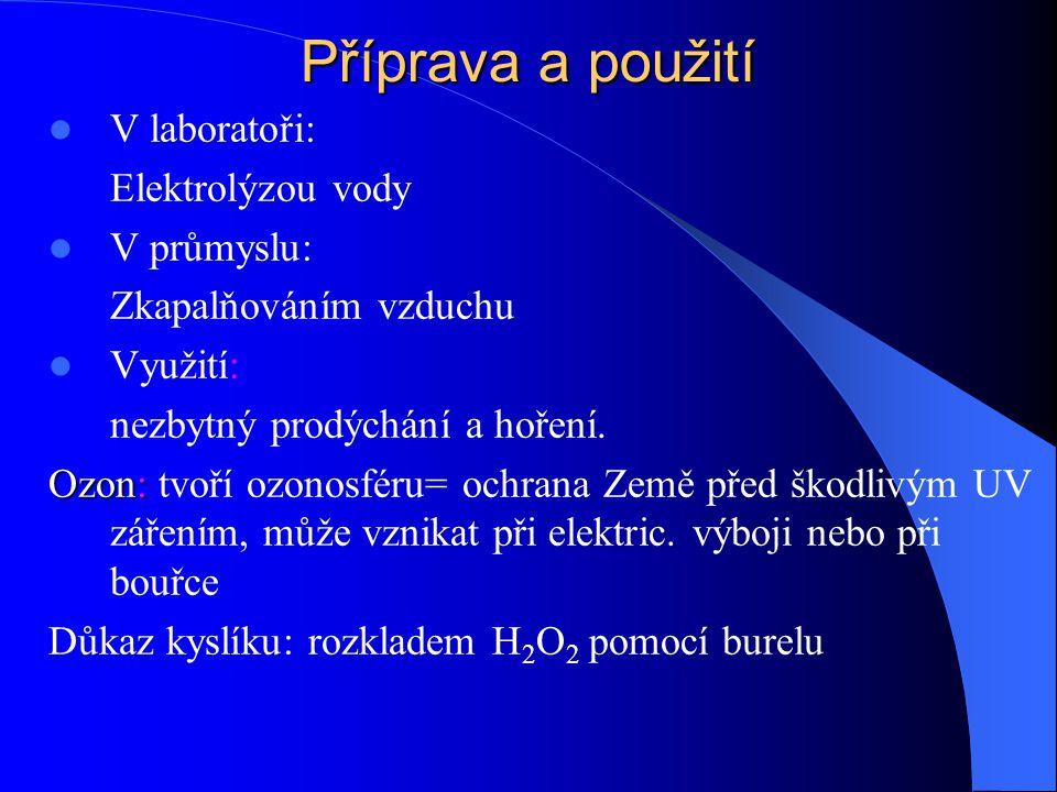 Příprava a použití V laboratoři: Elektrolýzou vody V průmyslu: