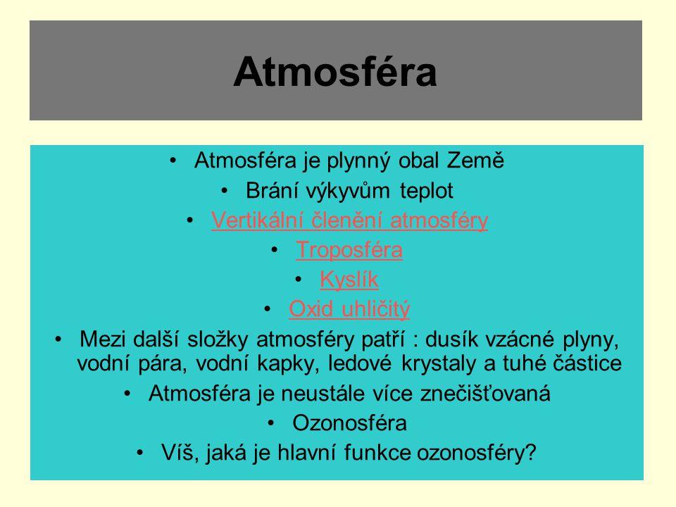 Atmosféra Atmosféra je plynný obal Země Brání výkyvům teplot
