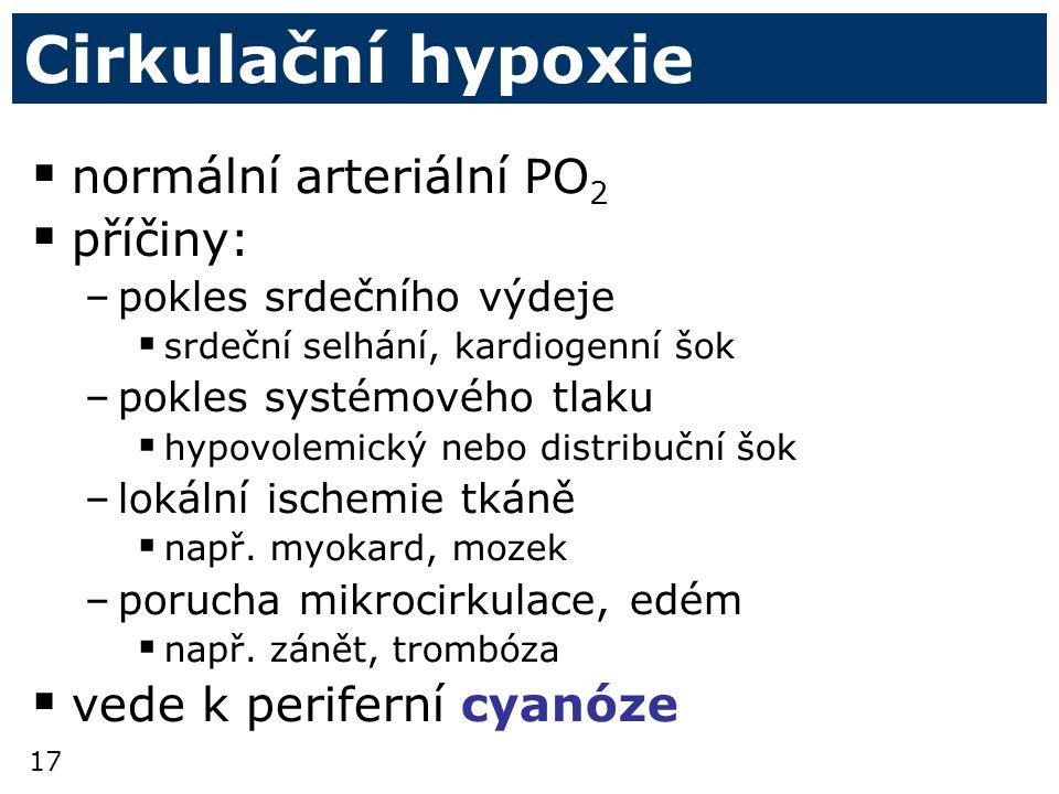 Cirkulační hypoxie normální arteriální PO2 příčiny: