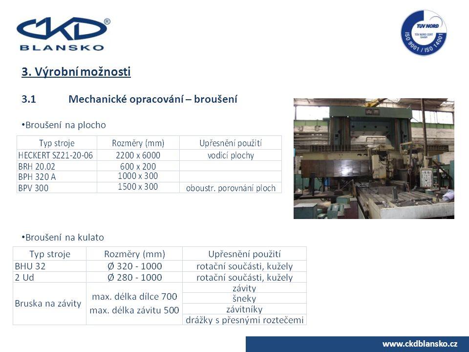 3. Výrobní možnosti 3.1 Mechanické opracování – broušení