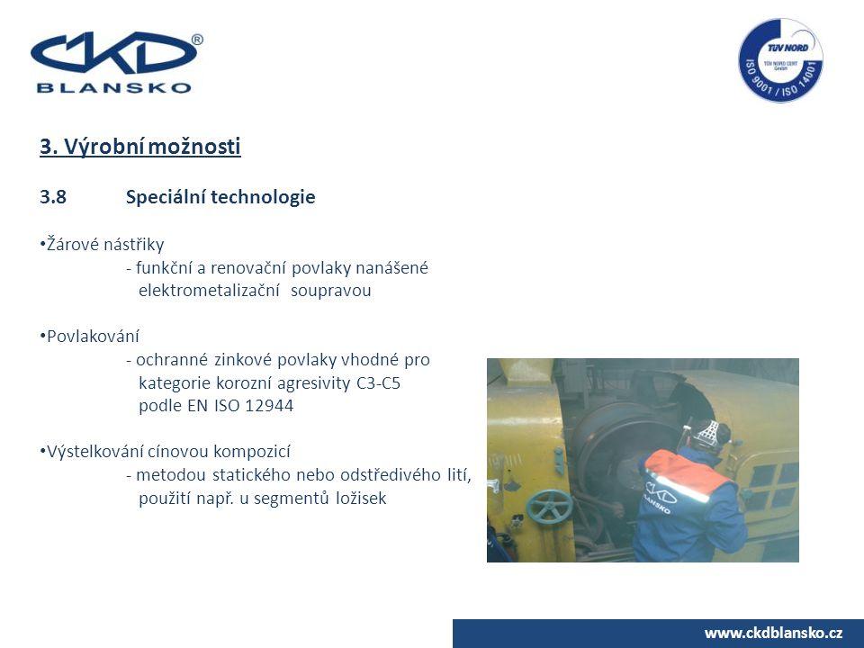 3. Výrobní možnosti 3.8 Speciální technologie Žárové nástřiky