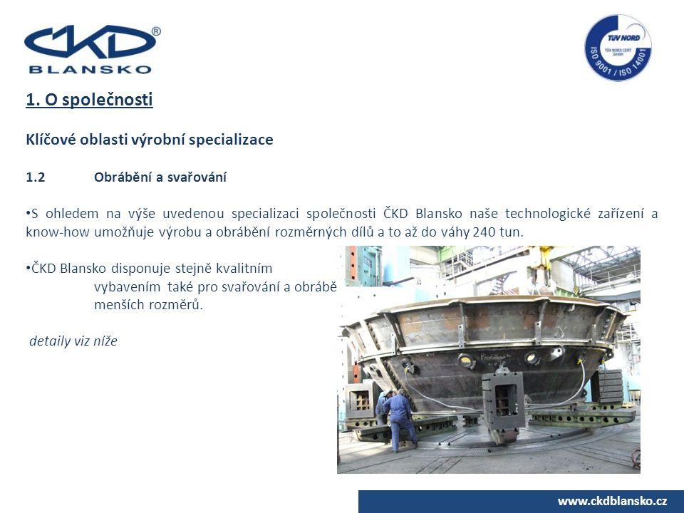 1. O společnosti Klíčové oblasti výrobní specializace