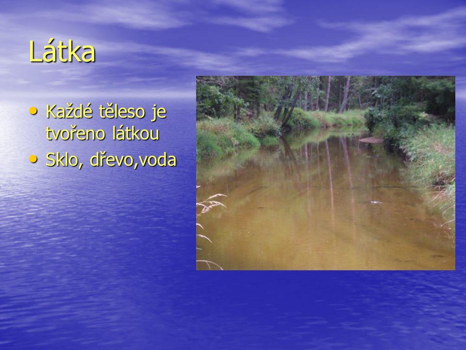 Látka Každé těleso je tvořeno látkou Sklo, dřevo,voda