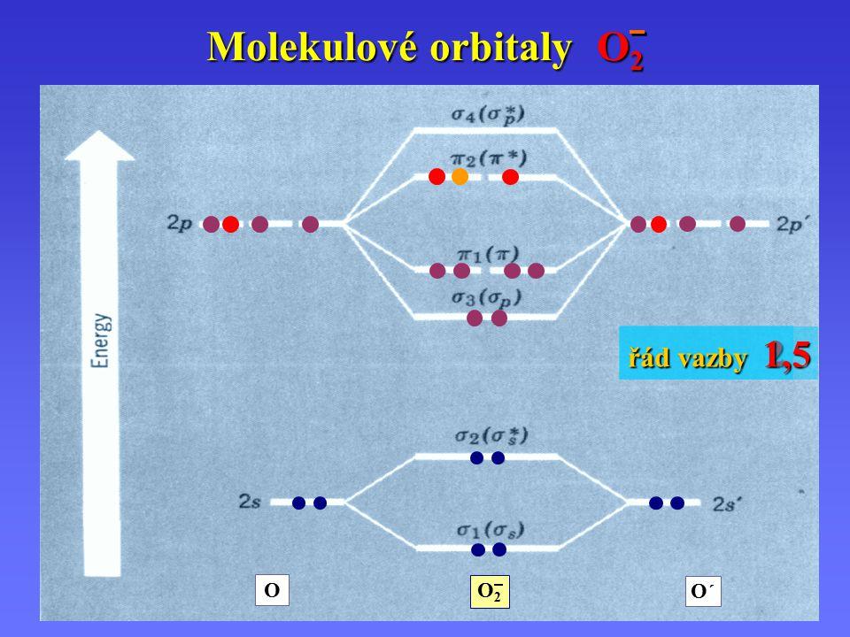 Molekulové orbitaly O2 řád vazby 1,5 řád vazby 2 O O´ O2