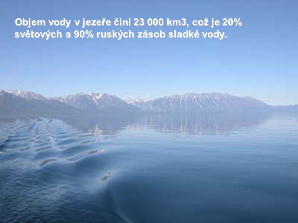 Objem vody v jezeře činí 23 000 km3, což je 20% světových a 90% ruských zásob sladké vody.