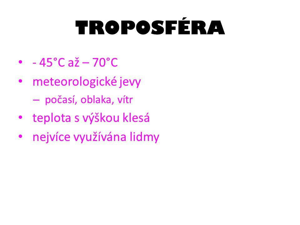 TROPOSFÉRA - 45°C až – 70°C meteorologické jevy teplota s výškou klesá