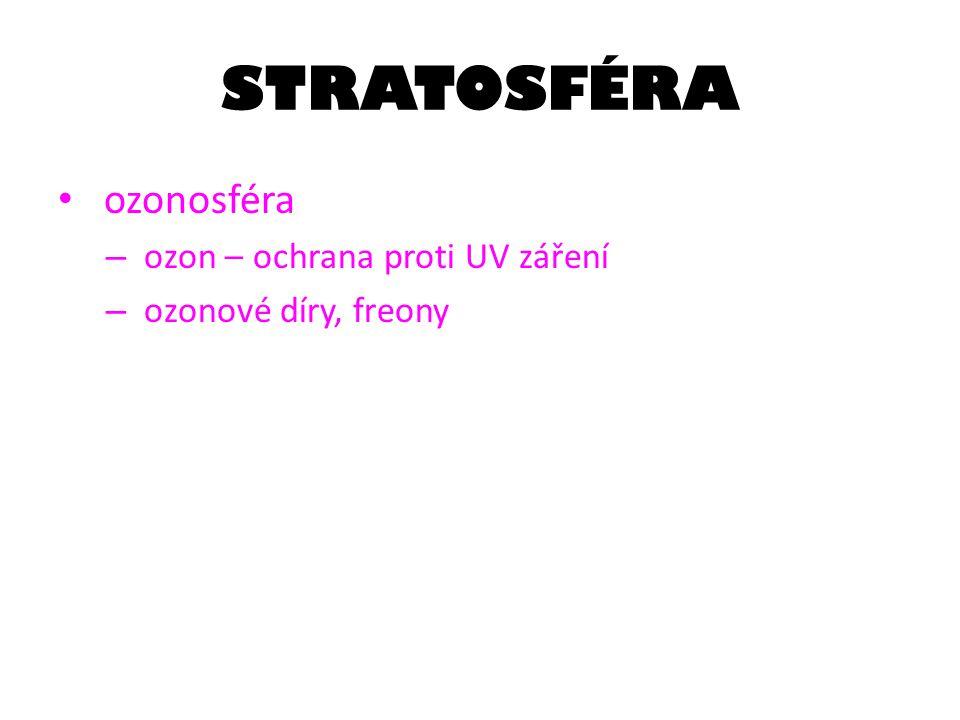 STRATOSFÉRA ozonosféra ozon – ochrana proti UV záření