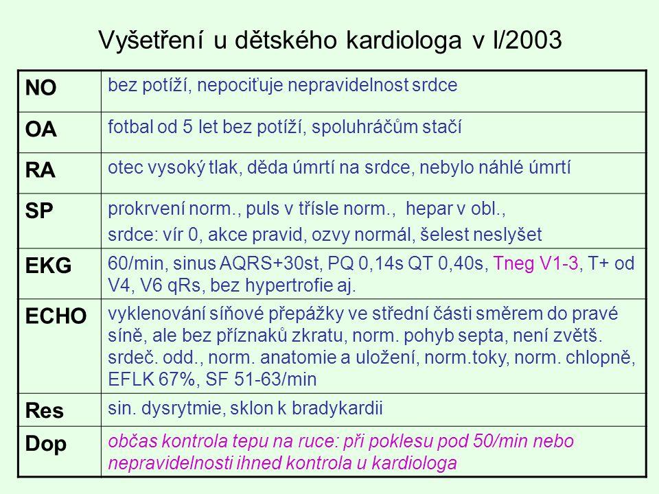 Vyšetření u dětského kardiologa v I/2003