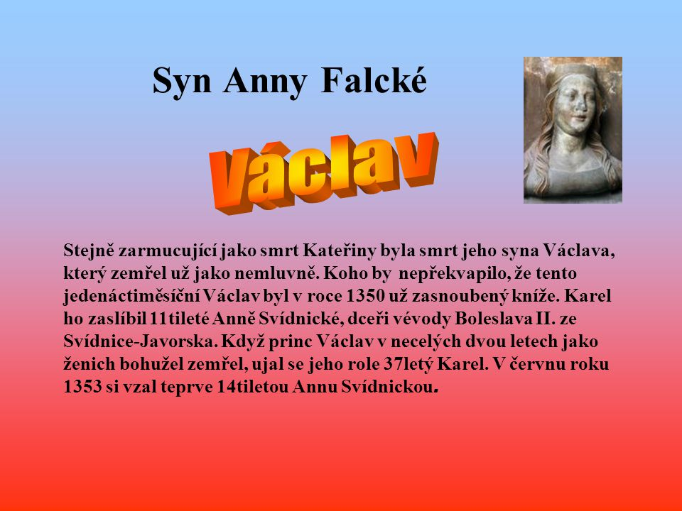 Syn Anny Falcké Václav.