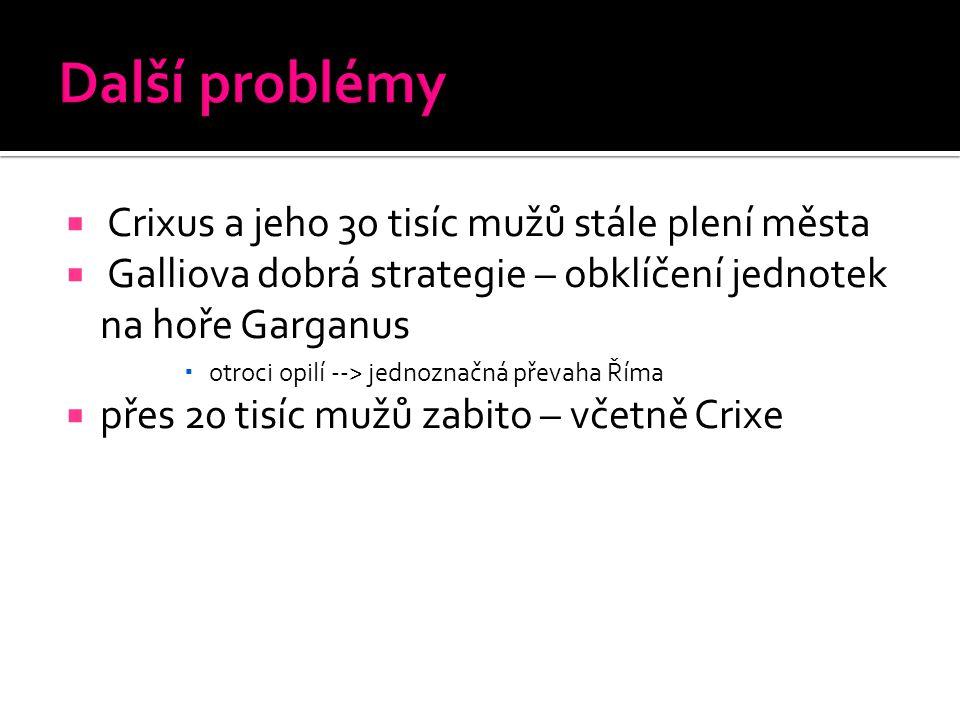 Další problémy Crixus a jeho 30 tisíc mužů stále plení města