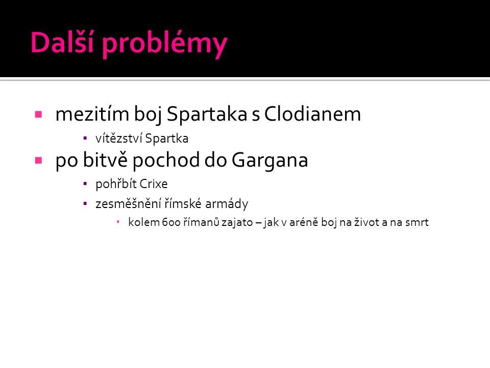 Další problémy mezitím boj Spartaka s Clodianem
