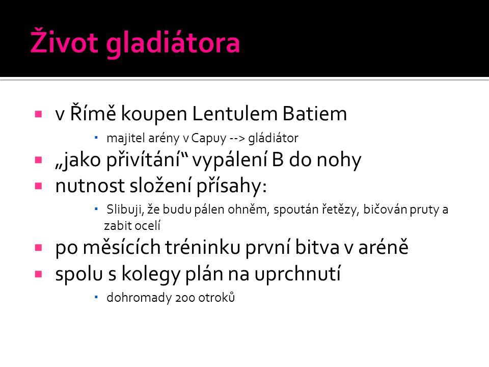 Život gladiátora v Římě koupen Lentulem Batiem