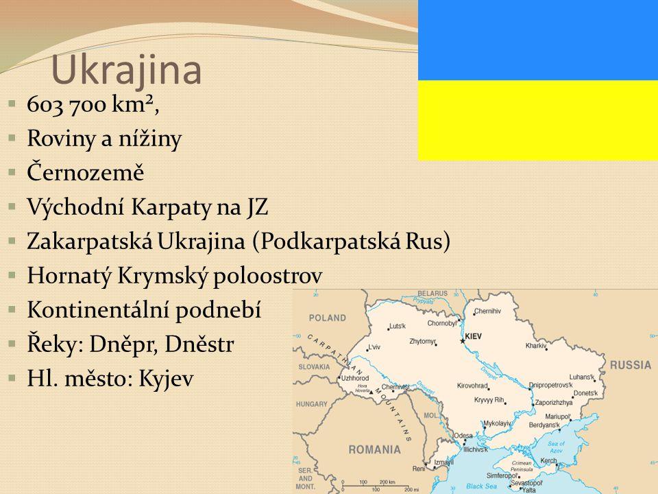 Ukrajina 603 700 km², Roviny a nížiny Černozemě Východní Karpaty na JZ
