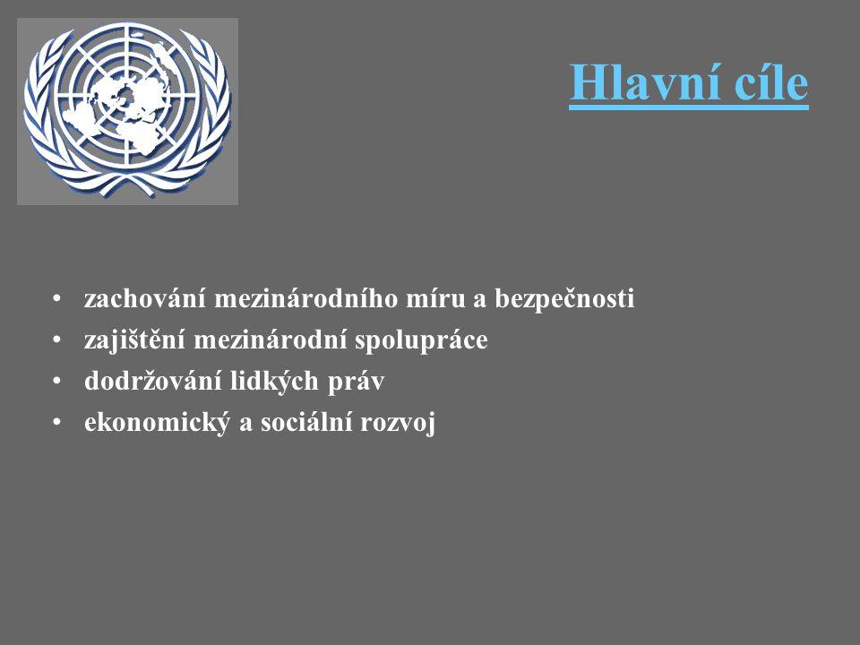 Hlavní cíle zachování mezinárodního míru a bezpečnosti