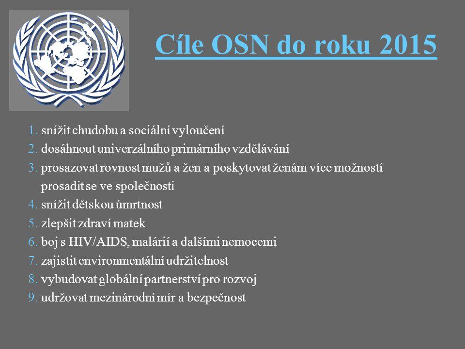 Cíle OSN do roku 2015 1. snížit chudobu a sociální vyloučení