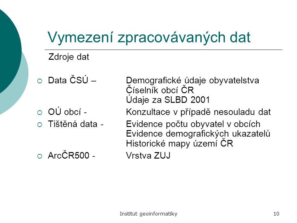 Vymezení zpracovávaných dat