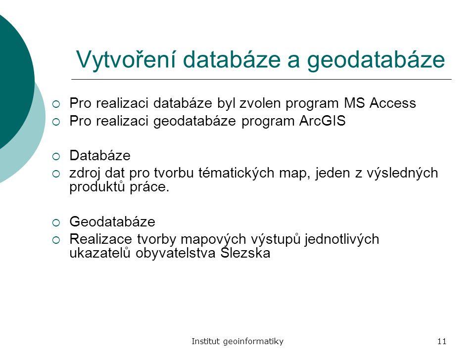 Vytvoření databáze a geodatabáze