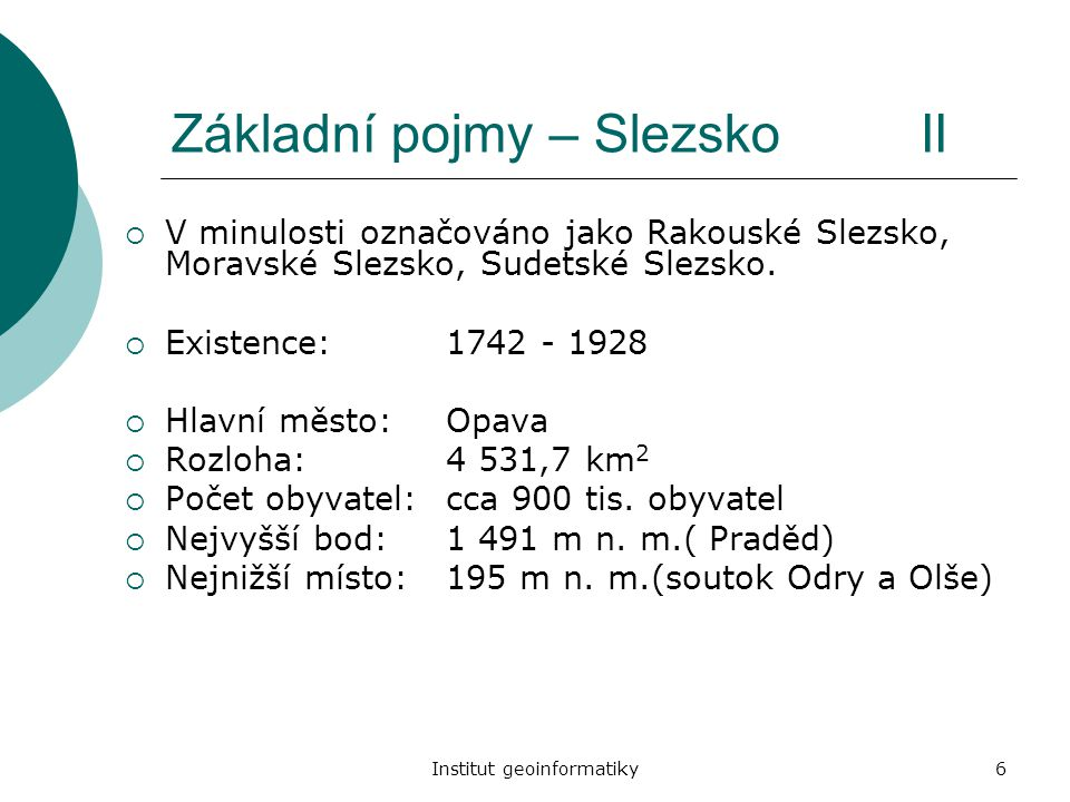 Základní pojmy – Slezsko II