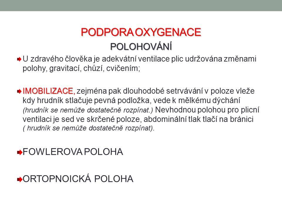 PODPORA OXYGENACE POLOHOVÁNÍ FOWLEROVA POLOHA ORTOPNOICKÁ POLOHA