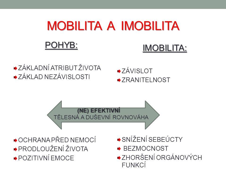 MOBILITA A IMOBILITA POHYB: IMOBILITA: ZÁKLADNÍ ATRIBUT ŽIVOTA