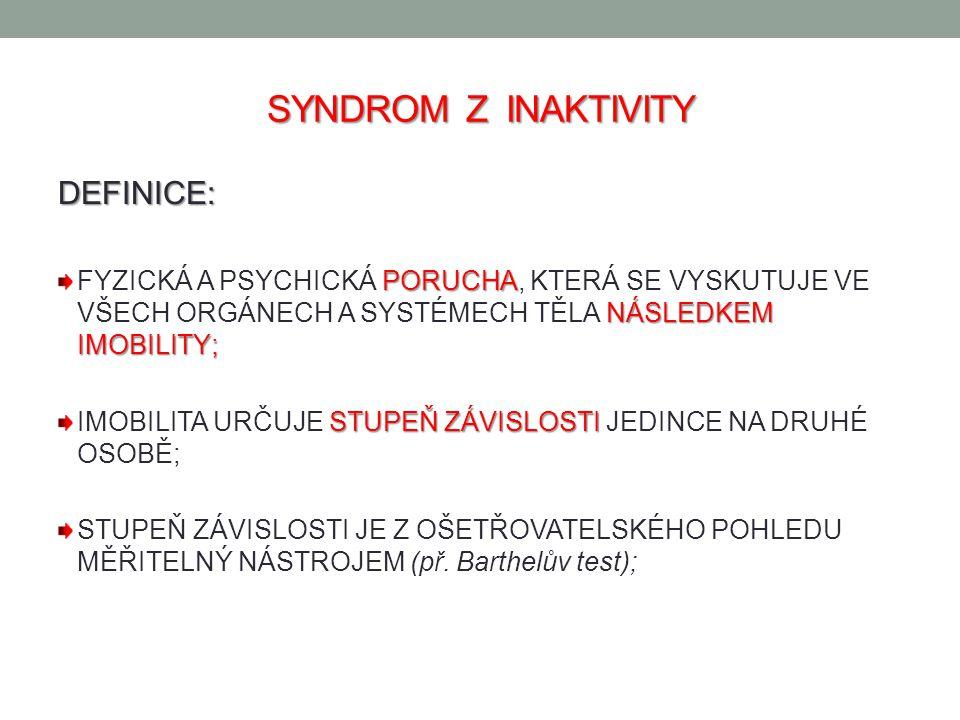 SYNDROM Z INAKTIVITY DEFINICE: