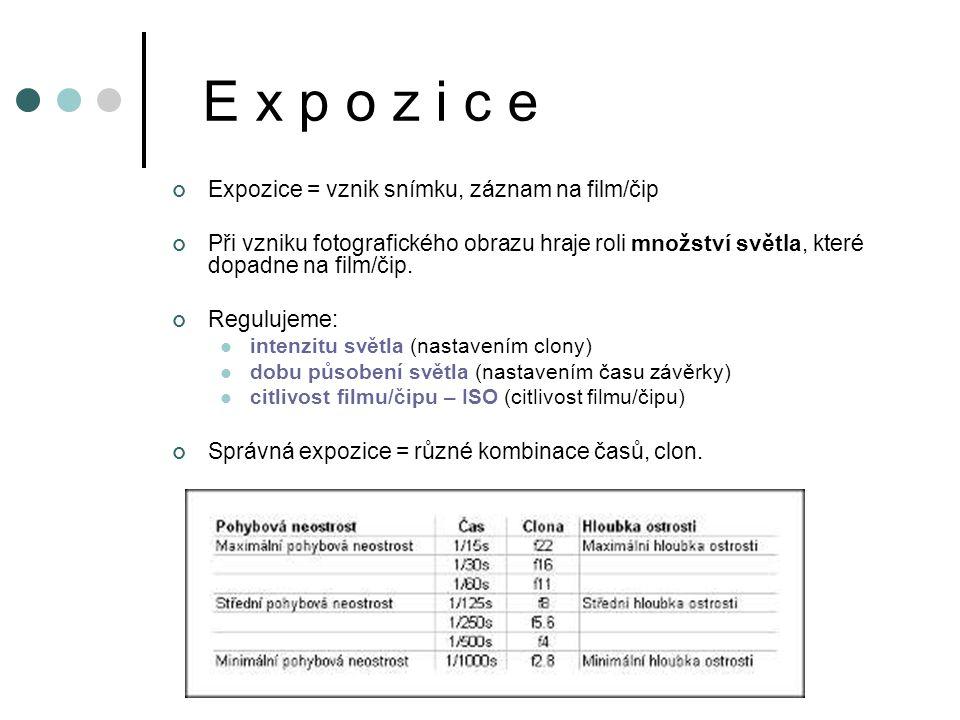 E x p o z i c e Expozice = vznik snímku, záznam na film/čip