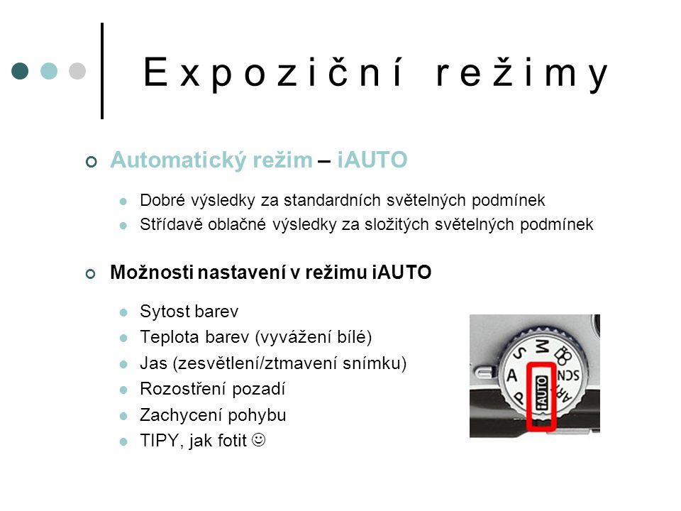 E x p o z i č n í r e ž i m y Automatický režim – iAUTO