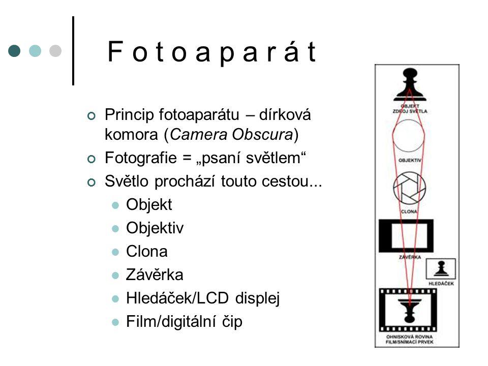 """F o t o a p a r á t Princip fotoaparátu – dírková komora (Camera Obscura) Fotografie = """"psaní světlem"""