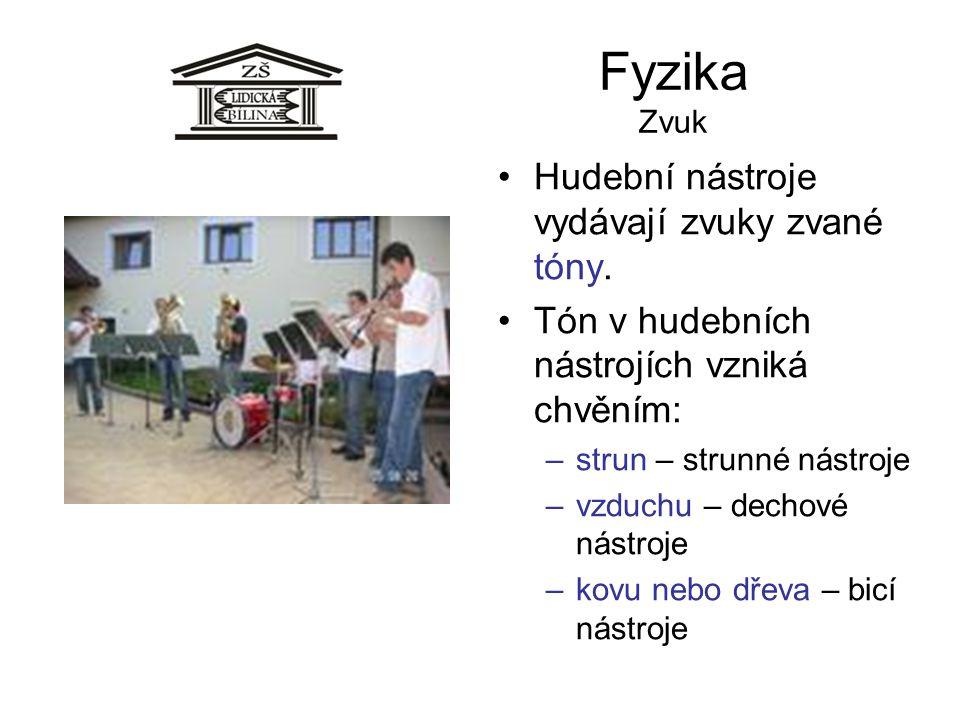 Fyzika Zvuk Hudební nástroje vydávají zvuky zvané tóny.