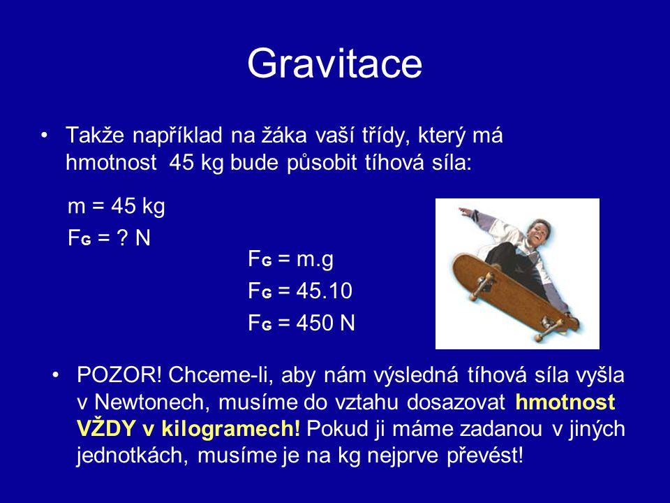 Gravitace Takže například na žáka vaší třídy, který má hmotnost 45 kg bude působit tíhová síla: FG = m.g.