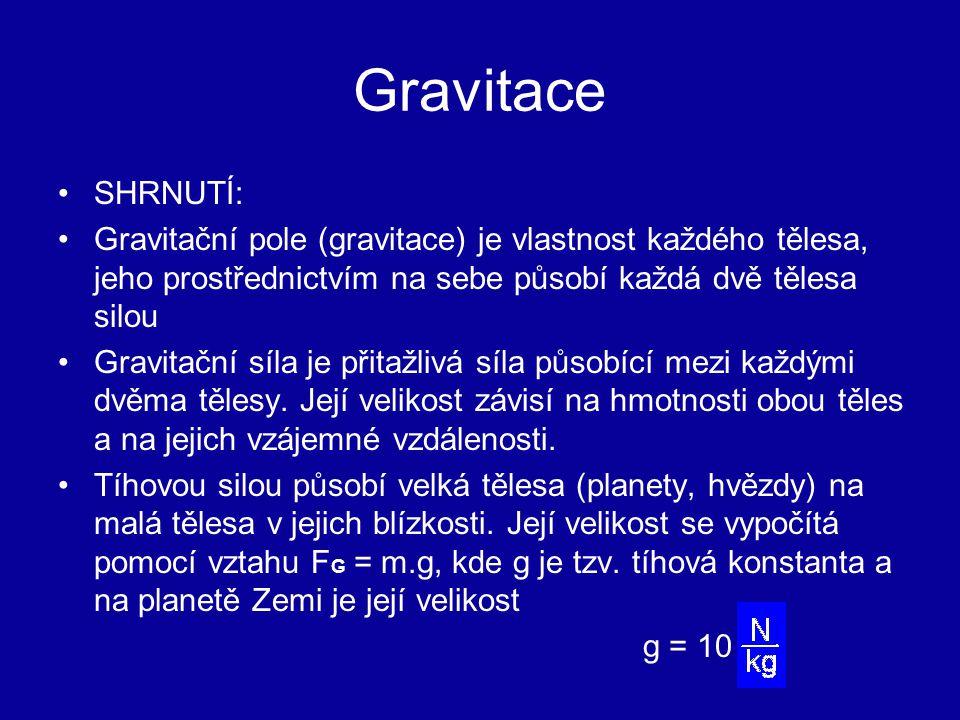 Gravitace SHRNUTÍ: Gravitační pole (gravitace) je vlastnost každého tělesa, jeho prostřednictvím na sebe působí každá dvě tělesa silou.