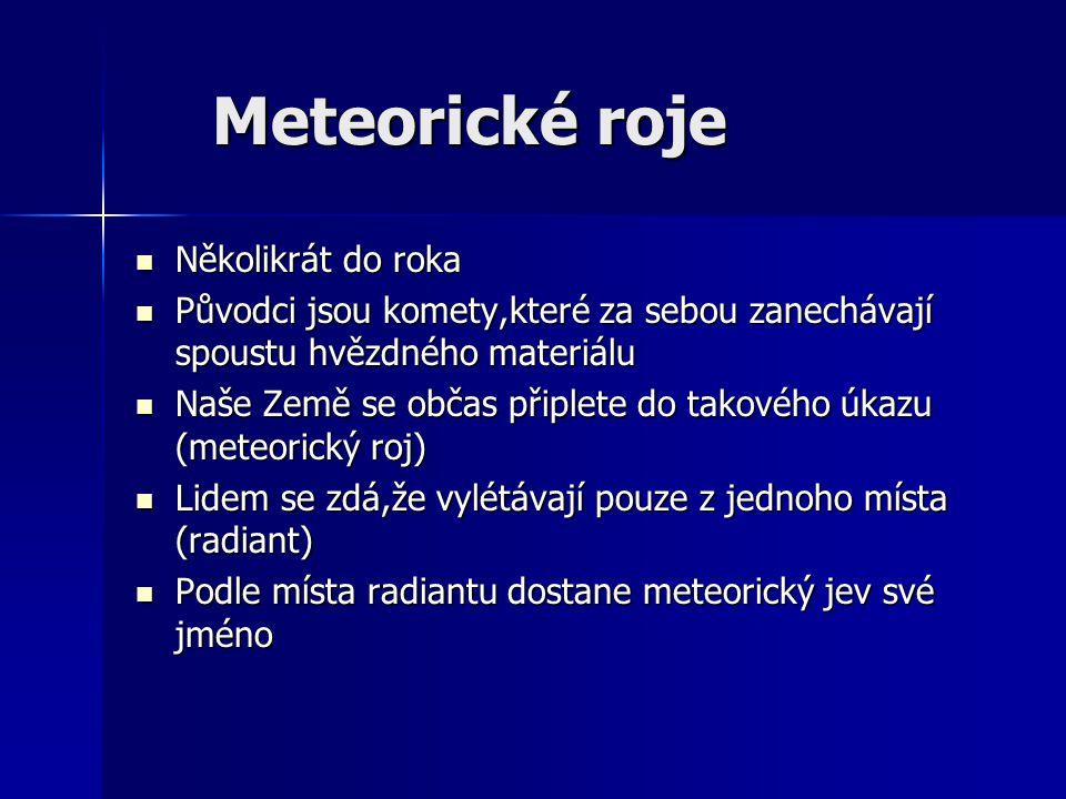Meteorické roje Několikrát do roka