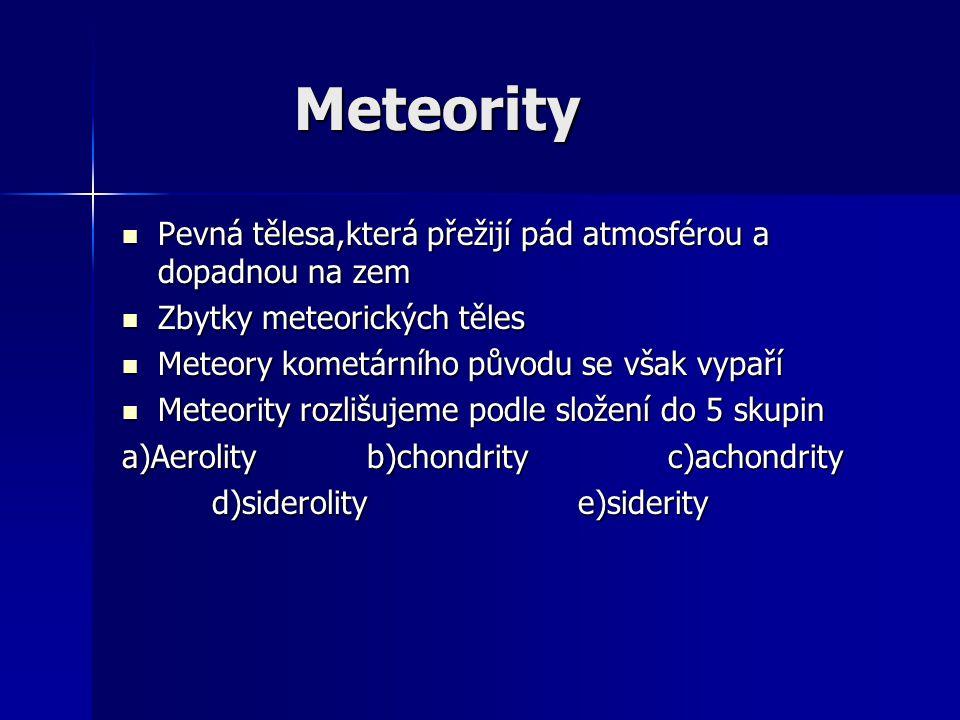 Meteority Pevná tělesa,která přežijí pád atmosférou a dopadnou na zem