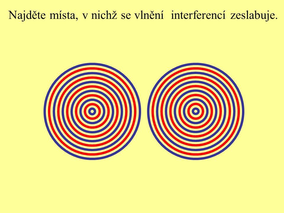 Najděte místa, v nichž se vlnění interferencí zeslabuje.