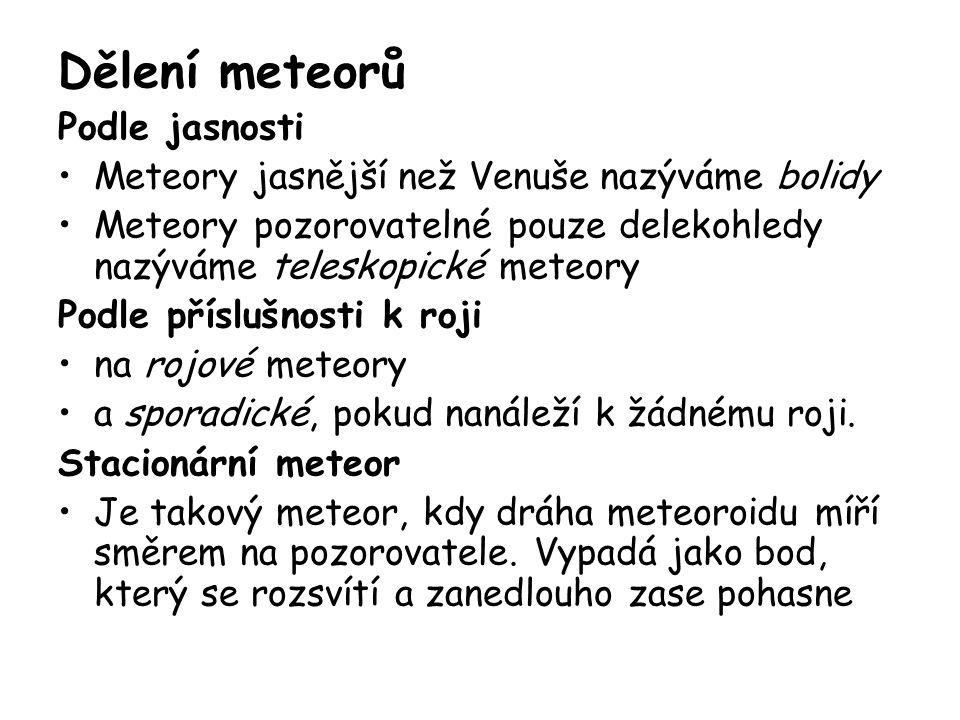 Dělení meteorů Podle jasnosti