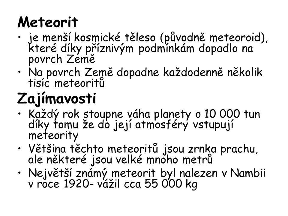 Meteorit je menší kosmické těleso (původně meteoroid), které díky příznivým podmínkám dopadlo na povrch Země.