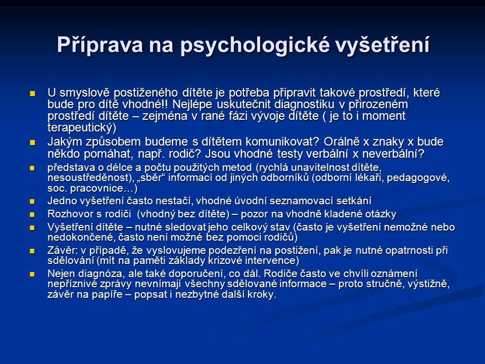 Příprava na psychologické vyšetření