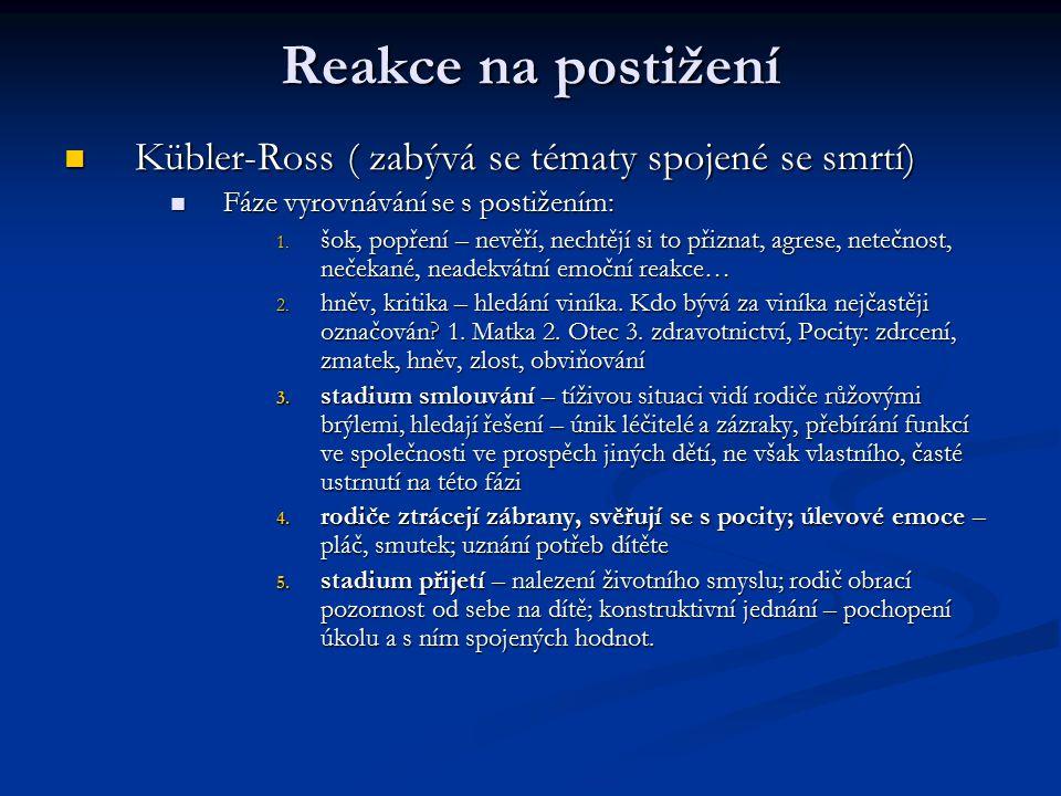 Reakce na postižení Kübler-Ross ( zabývá se tématy spojené se smrtí)