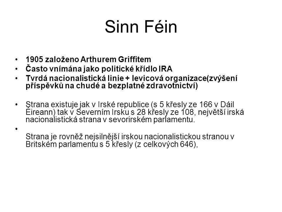 Sinn Féin 1905 založeno Arthurem Griffitem
