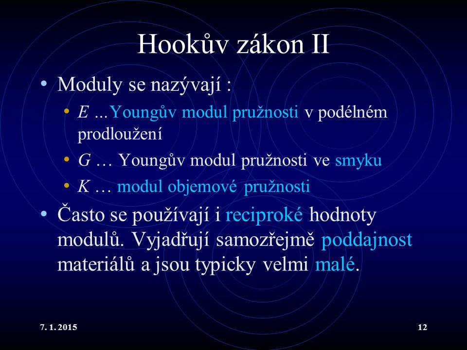 Hookův zákon II Moduly se nazývají :