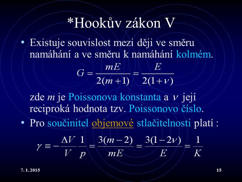 *Hookův zákon V Existuje souvislost mezi ději ve směru namáhání a ve směru k namáhání kolmém.