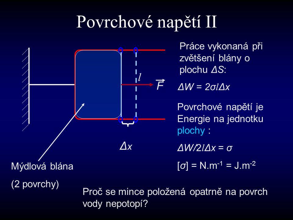 Povrchové napětí II l F Δx