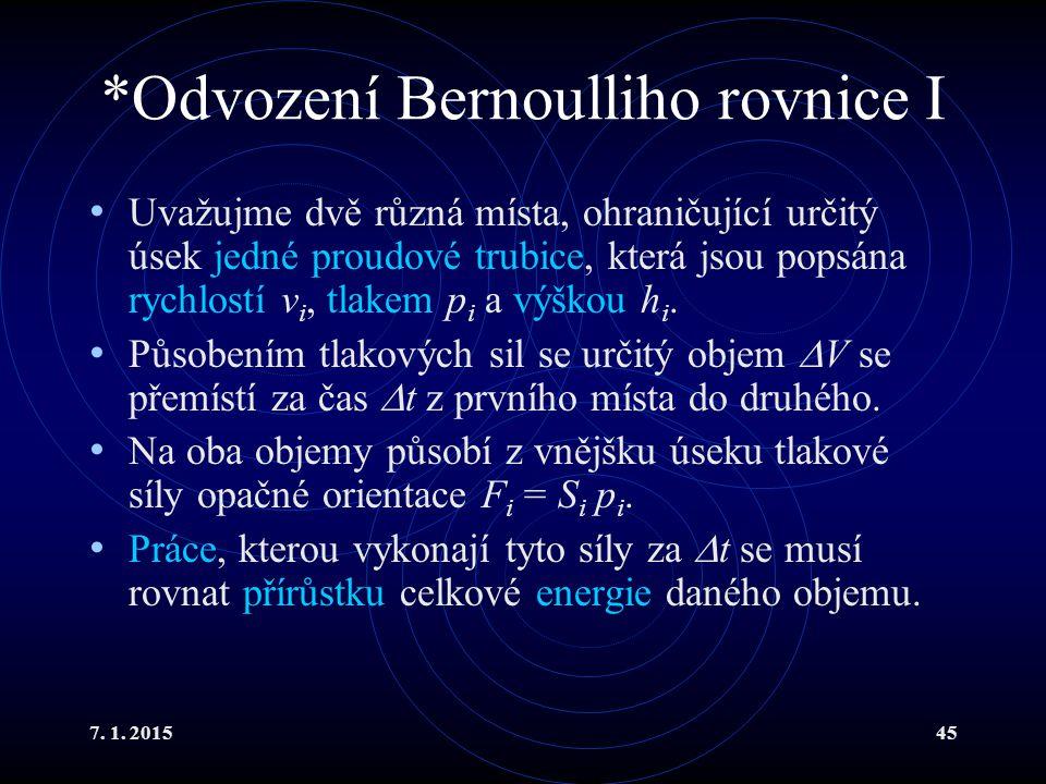 *Odvození Bernoulliho rovnice I