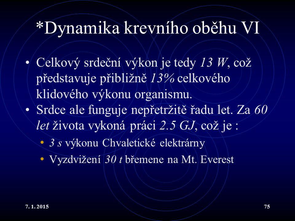 *Dynamika krevního oběhu VI