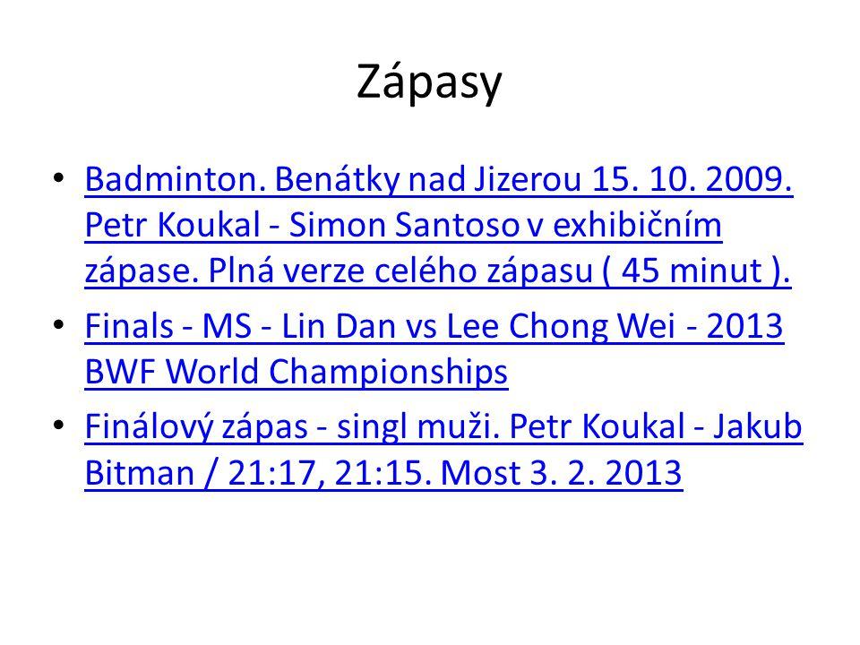 Zápasy Badminton. Benátky nad Jizerou 15. 10. 2009. Petr Koukal - Simon Santoso v exhibičním zápase. Plná verze celého zápasu ( 45 minut ).