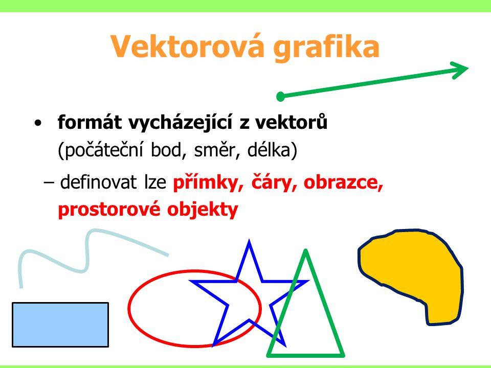 Vektorová grafika formát vycházející z vektorů (počáteční bod, směr, délka) definovat lze přímky, čáry, obrazce, prostorové objekty.