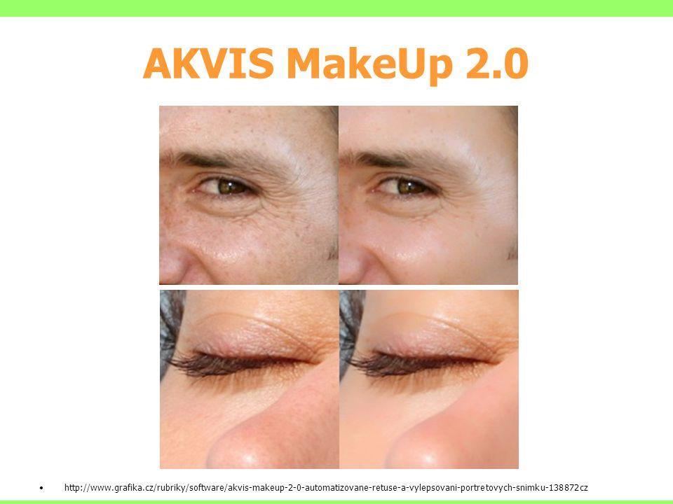 AKVIS MakeUp 2.0 http://www.grafika.cz/rubriky/software/akvis-makeup-2-0-automatizovane-retuse-a-vylepsovani-portretovych-snimku-138872cz.