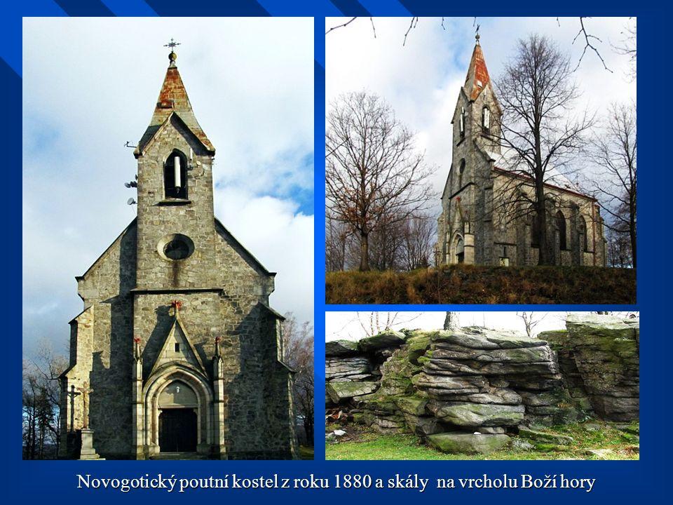 Novogotický poutní kostel z roku 1880 a skály na vrcholu Boží hory